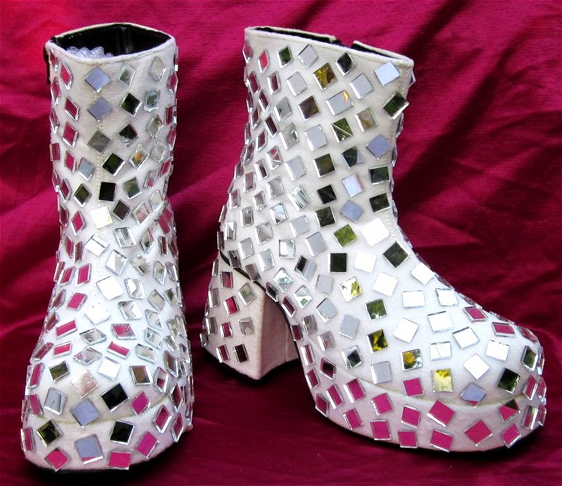 mens disco mirror platform ankle boots