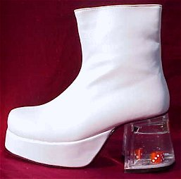 White Platform 70s Ankle Boots