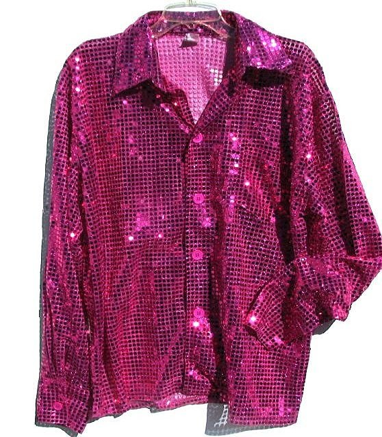 Fuchsia Hot Pink Sequin Mens Shirt