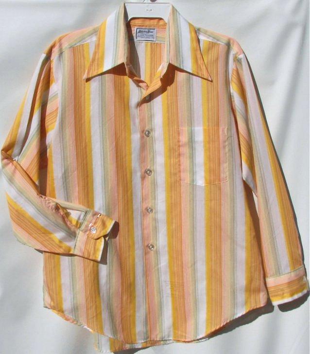 Mens orange green vintage 70s shirt sciox Image collections
