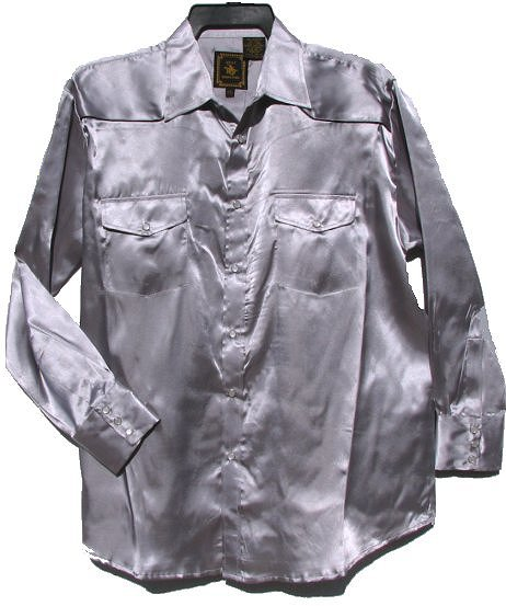 Mens Silver Satin 70s Polyester Disco Shirt
