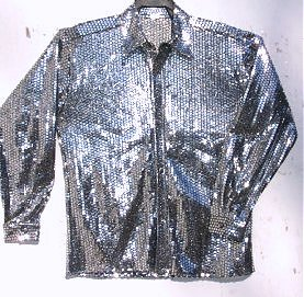 Mens Silver Square Sequin Disco Shirt