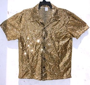 Mens Gold Sequin Short Sleeve Shirt