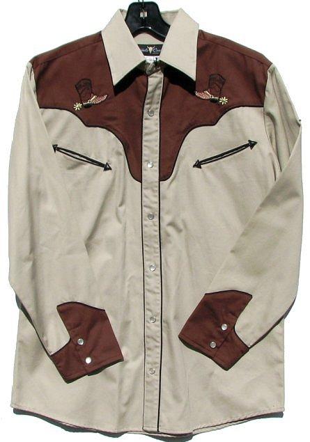 mens brown cowboy gabardine western shirt