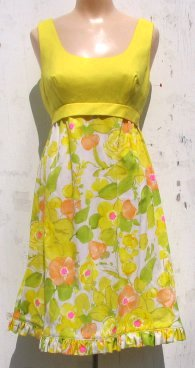 Yellow Cocktail Dress on Yellow Floral 1960s Cocktail Dress