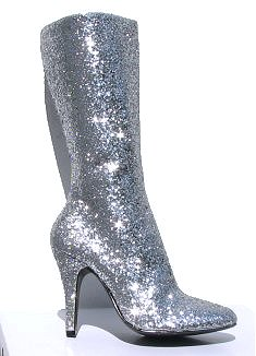 Vintage 1970s Style Silver Glitter Glamrock Disco Boots