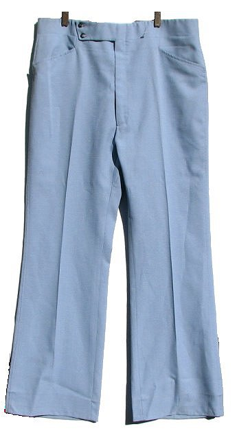 Mens Vintage Baby Blue Polyester Haggar 70s Bell Bottom Pants