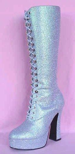 Light Blue Glitter Platform Boots