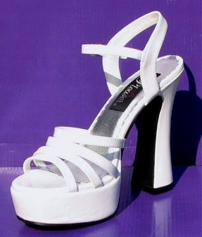 861025378f25 This is a great reproduction of the type of platform sandals we wore when  at a disco in the 70s. These shoes are a shiny white patent.